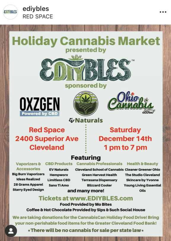 Ediybles Holiday Cannabis Market Instagram